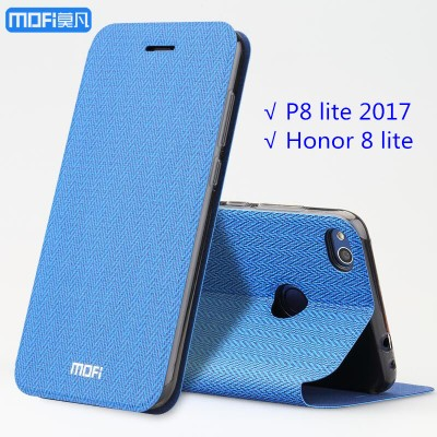Huawei P8 lite 2017 case flip Huawei honor 8 lite case MOFi original cover 2017 Huawei p8 lite wheat pattern kickstand holder Phone Cases For huawei