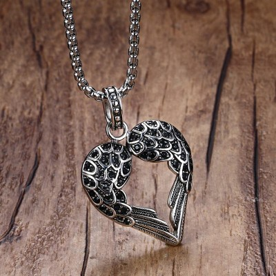 Vintage Punk Mens Necklaces Pendant Stainless Steel Black Tone Crystal Guardian Angel Heart Wings/Wing Necklace Gift for Women