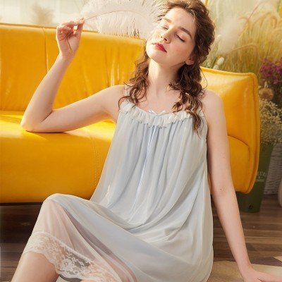 Nightwear Sleeveless Nightgown Lace Nighty Summer Women 2019 Sweet Woman Sleepshirts Sleepwear