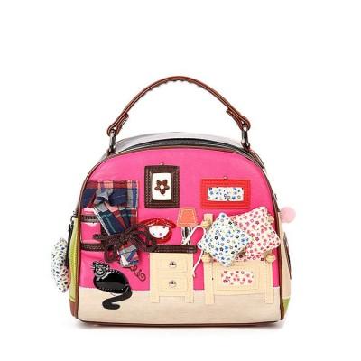 2019 women bags Shoulder Bag cut cat house Handbag Sushi Retro Handmade Bolsa Feminina PU Totes Bags For Ladies cartoon bags