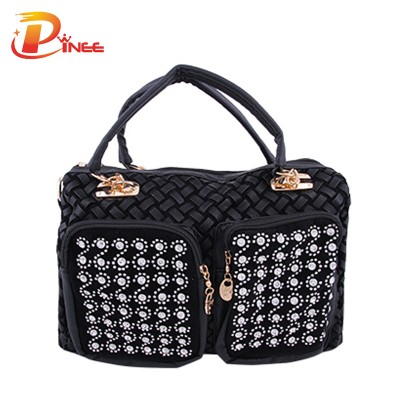 Rhinestone Handbags Designer Denim Handbags 2017 Fashion Women Travel Tote Bag Leisure Pillow Style Handbags Brand Rhinestone Hand Bags Designers Brand