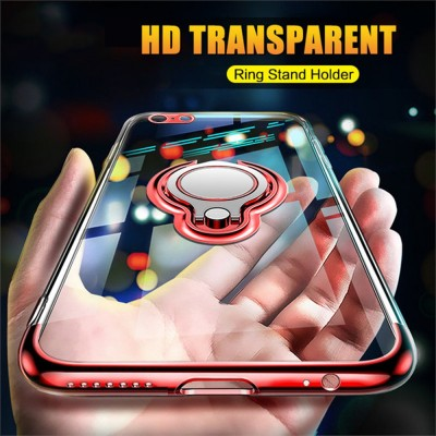 Brand Luxury Phone Case For iPhone XR XS Max X 8 7 6 6s Plus Silicone Soft TPU Magnetic Cover For iPhone XS X Ring Stand Holder Cases