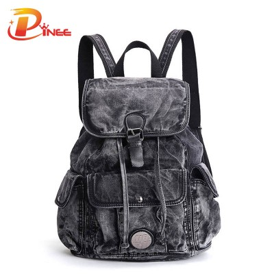 American apparel denim backpack Women's Backpack Denim Daily Backpack Vintage Backpacks Travel Lay Bag 2017 Rucksack black blue denim backpack
