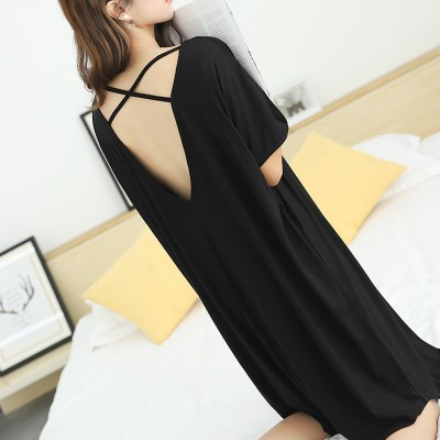 Plus size women 2019 new cotton short-sleeved nightdress fat mm backless sleepwear dress 200kg nuisette femme de nuit sleepwear