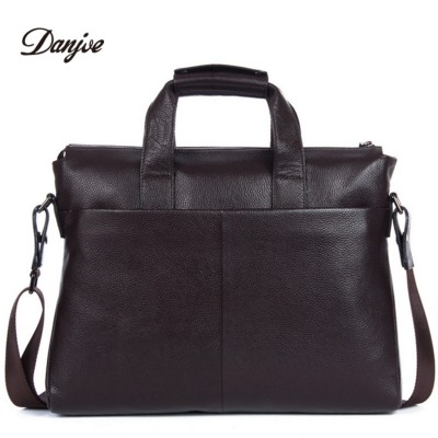 DANJUE Guaranteed genuine leather men handbag fashion briefcase bag cowhide shoulder bag business man solid 14 inches laptop