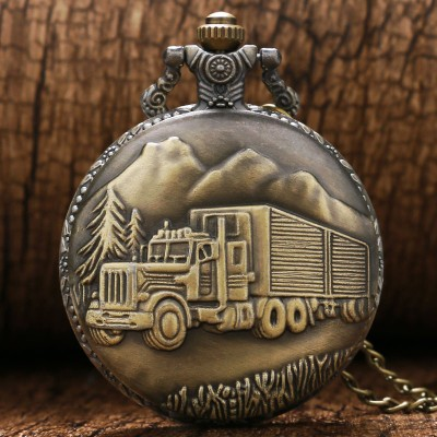Vintage Bronze Retro Big Truck Forest Tree Pocket Watch with Chain for Car Truck Driver Pocket Watches