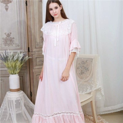 Autumn Sleepwear Women Night Gown Home Wear Sleep Shirt Robe Dress Vintage Nightgown Plus Size Cotton Nightwear Nightshirt T331