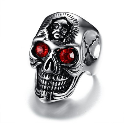 Punk Mens Large Skull Rings Stainless Steel Red Eyes Male Skull Biker Accessories for Men Vintage Jewelry Halloween Gift