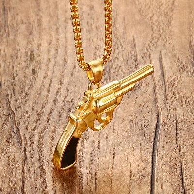 Mens Gun Pistol Necklaces Stainless Steel Hip Hop Style Revolver Pendant Necklace in Gold-color Men Fashion Jewelry colar