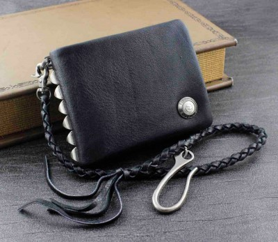 Men's Studded Biker Rocker Genuine Leather Wallet w Chain Black