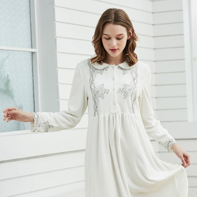 Velvet Nightgown Women Elegant Sleepwear Winter Nightdress White