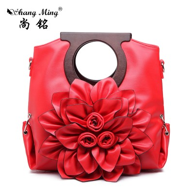 Sexy Bags 2019 Fashion  Women Tote  European American Style 3D Red Flower Sexy Ladies  High Quality PU Leather Bags Female Shoulder Bags