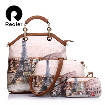 REALER brand women handbag 3 sets vintage printed artificial leather tote bag large shoulder bags ladies purses and handbags