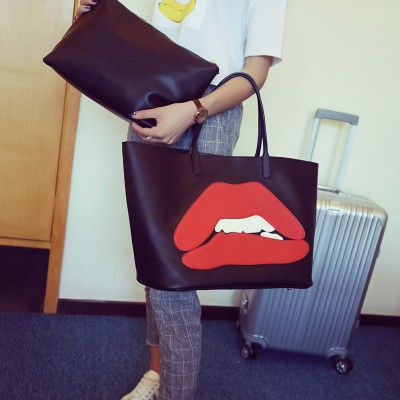 Sexy Bags Fashion Shoulder Bag Handbag European Leisure Sexy Lips Black Two-in-one Quilt Women Bags Lady Funky Lovely Concessional Rate