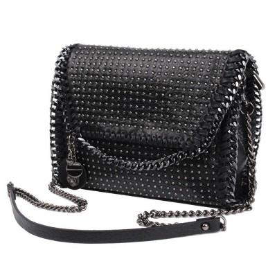 New Fashion Female Pu Leather Chain Shoulder Bag Single Solid Soft Black Rivets Skull Womens Flap  Crossbody HandBag Messenger