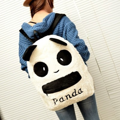 2017 new female  plush cartoon cute panda children, shoulders, winter, soft face, middle school bag