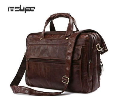 Hight Quality Brown 100% Genuine Leather  Men Portfolio Briefcase Laptop Bag Messenger Handbag