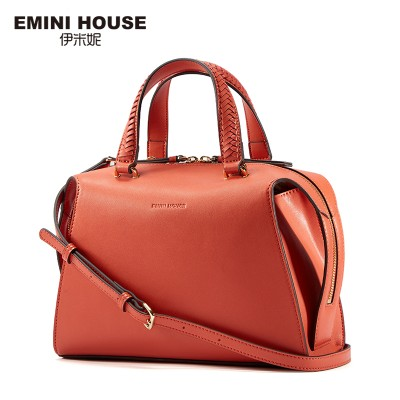 EMINI HOUSE Stylish Knitting Handle Shoulder Bag Split Leather Women Handbags High Capacity Crossbody Bags For Women