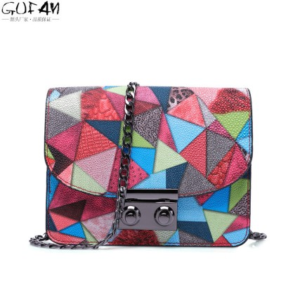 European and American Gothic bag candy color printing Chain shoulder bag women Messenger Bags small mobile phone purse handbag