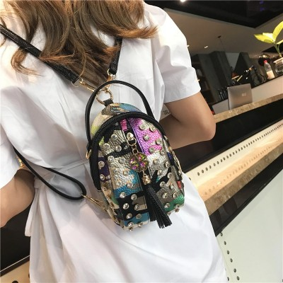 New Fashion Cute female backpack Crossbody shoulder bag womens Mini small backpack diamonds pu leather leisure bag for girls