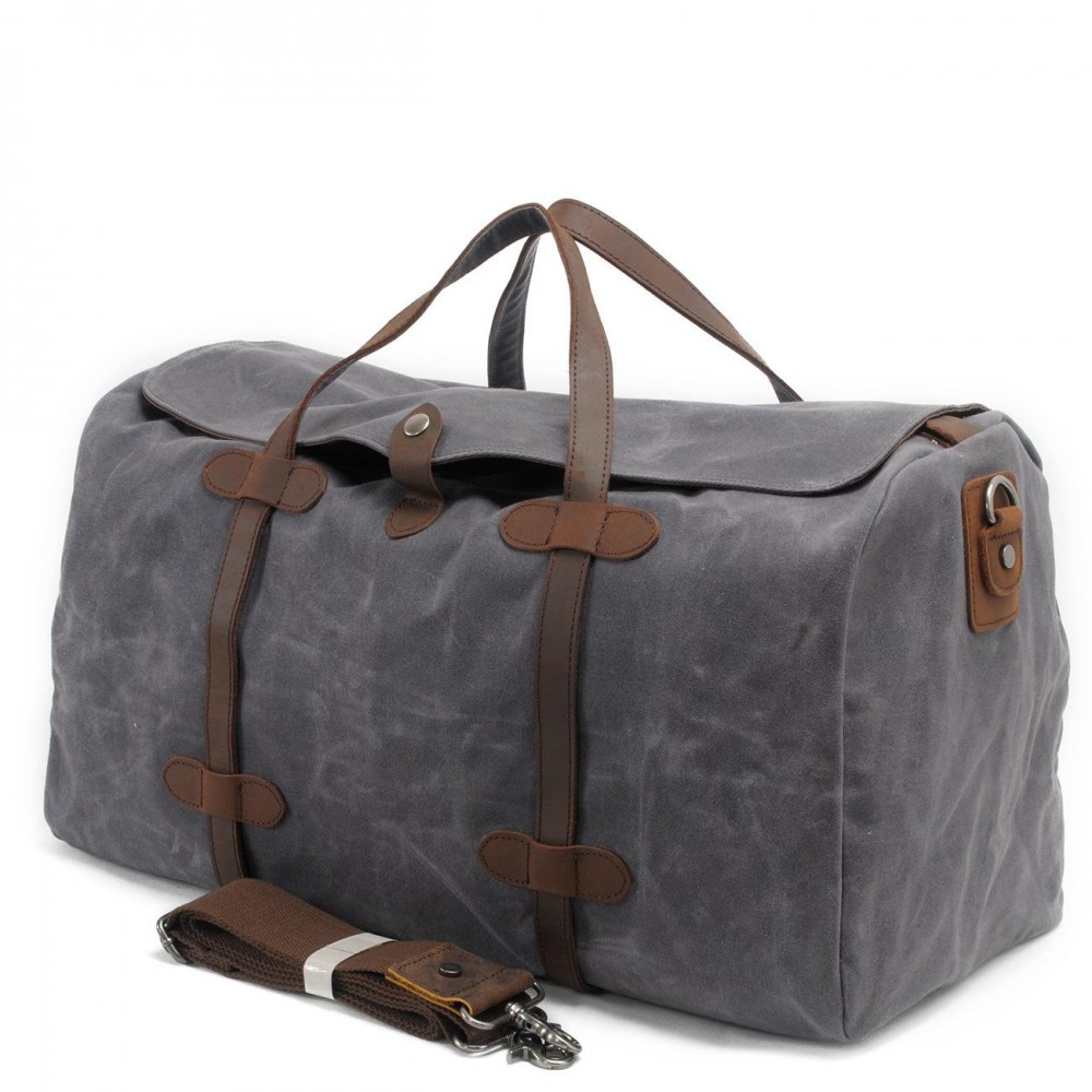 Military Vintage Canvas Duffel Bags Real Leather Weekend Bag Mens Travel Luggage Designer Brand High Quality Shoulder