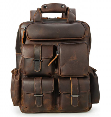 Original Brand Dark Brown Vintage Men's Genuine Crazy Horse Leather 14 Inch Multi Pockets Laptop Backpack Shoulder Bag Travel Bag