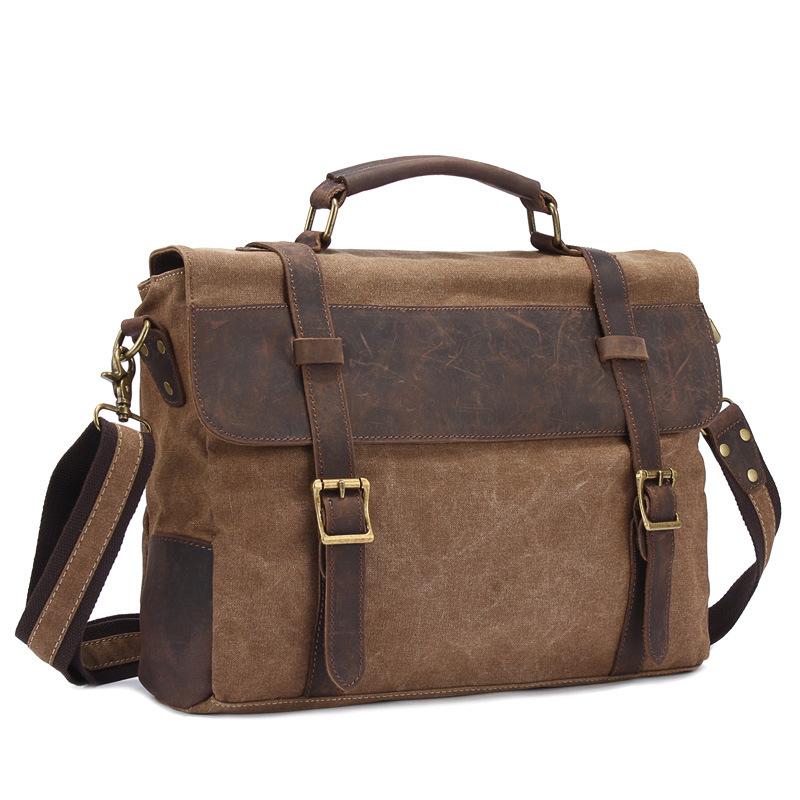 ... Bag Military Canvas Crazy Horse Leather Men Messenger Handbag Tote Briefcase. Image 1