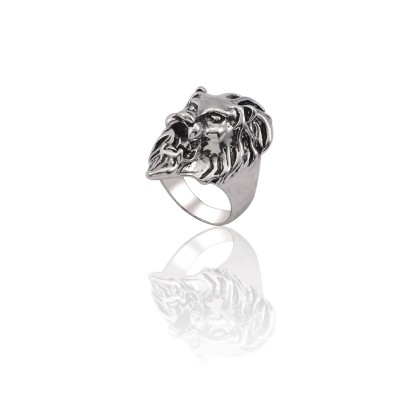 Vintage Silver Ring Men Stainless Steel Lion Head Ring Steampunk Hip Hop Animal Cool Male Finger Rings Jewelry Anel Masculino