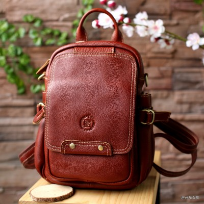 Leather shoulder bag simple leisure college student travel bag leather backpack dual-purpose wind