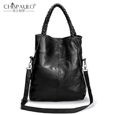 2019 Genuine Leather Women Shoulder Bags Famous Brand Sheepskin Patchwork Casual Tote Luxury Handbags Women Bags Designer