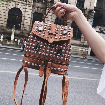 2019 Hot Sale Diamonds Women Small Backpacks Causal bags Rivet Female shoulder bag PU Leather Backpack for Girls