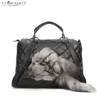 SHISPAULO-2019 new Lingge Spiraea rivet head plush fox handbag shoulder bag diagonal fashion handbags