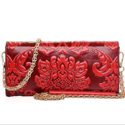 New 2017 Women Bags Messenger Flower Print Bags Brands Clutch Leather Handbag National Style Pouch Ladies Chain Shoulder Bag