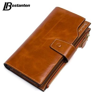 BOSTANTEN Vintage Genuine Cowhide Oil Wax Leather Women Long Wallets Purse Brand Wallet Women Card Holder Phone Clutch Wallets