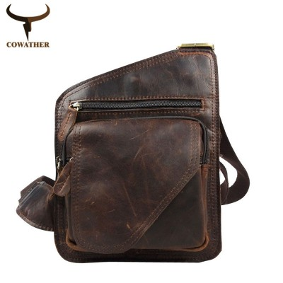 COWATHER 2019 100% top cow genuine leather versatile casual shoulder men messenger bags for men soild and zipper