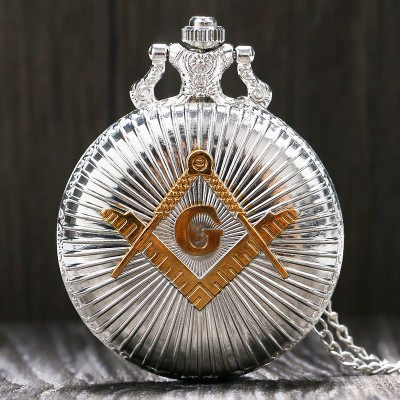 Cool Silver  Golden Masonic Freemason Freemasonry Theme Alloy Quartz Fob Pocket Watch With Necklace Chain Free Drop Shipping
