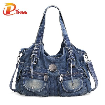 Vintage Denim Shoulder Handbags Fashion Women Bag Casual Denim Handbag Lady Denim Tote Bag