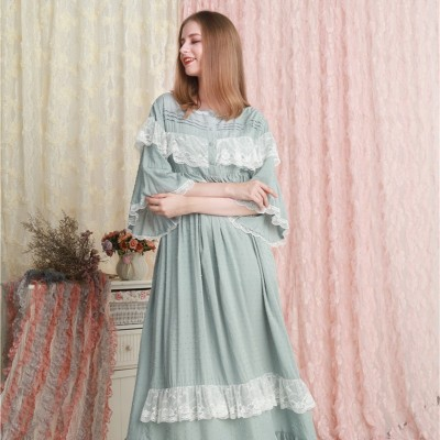 Woman Nightgown Cotton Sleepwear Dress Nightgown Ladies Loose Casual Nightdress