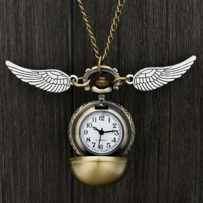 Quartz Pocket Watch Hogwarts Golden Snitch Slytherin Retro Pendant Clock Classic Pocket Necklace Gifts Kids