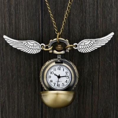 Quartz Pocket Watch Hogwarts Golden Snitch Slytherin Retro Pendant Clock Classic Pocket Necklace Gifts Kids