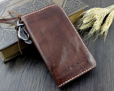 Mens Prenium Handmade LeatherCraft Biker Vintage Hevey Thick Leather Wallet Gift