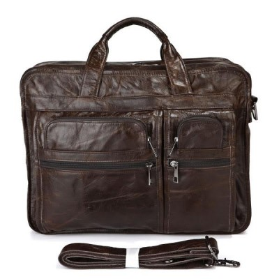 Maxdo Vintage Real Skin Genuine Leather Men Briefcase Messenger Bags Business Travel Bag Portfolio 14 inch Laptop Bag #M7093