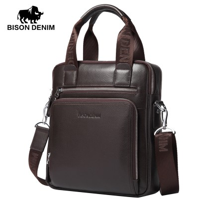 BISON DENIM top-handle bags100% Genuine Leather Shoulder Bag Men Messenger Bags Ror Men Commercial Briefcase CrossBody Bag N2333