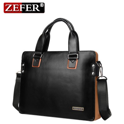 ZEFER Brand Genuine leather men handbags Fashion black & yellow patchwork designer shoulder messenger bags Casual men bag