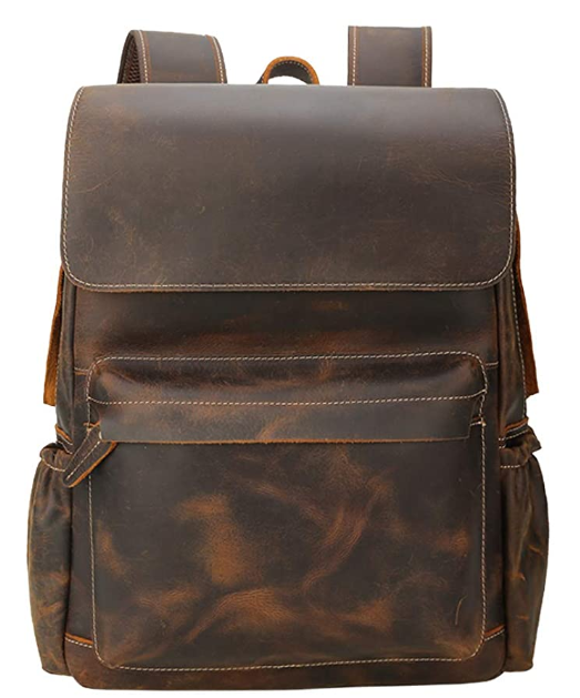 Brand Original Genuine Leather Backpack 14 Inch Laptop Backpack Vintage Travel College School Bag Daypack for Men