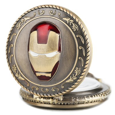 Hot Sale Half Hunter Men Iron Man Theme Pocket Watch Quatz Fob Clock Vintage Pendant Children Birthday Gift reloj de bolsillo