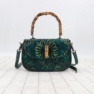Bolsas Feminina Genuine Leather Cow Retro Shoulder Handbag Flap Vintage Floral Tote Bag Totes Handbags  Crossbody Bags Women