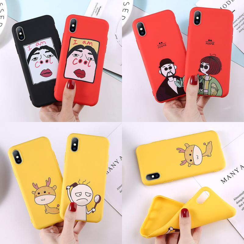 Soft TPU Phone Case For iPhone 6 6s 7 8 Plus X XR XS Max Cute Cartoon Letter Deer Smiley Face Soft TPU For iPhone 5 5S SE Cover