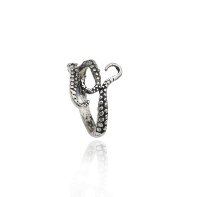 Punk Vintage Stainless Steel Titanium Steel Octopus Ring Octopus Tentacles Animal Rings For Men Women Resizable Anel Masculino