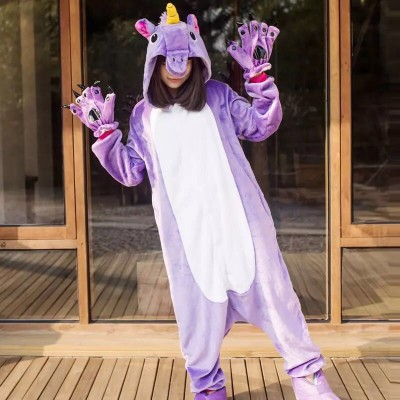 2019 Unicorn Pajamas onesie Women Kugurumi panda Winter Flannel Pajama Kigurumi adult Nightie Stitch unicornio Sleepwear Overall
